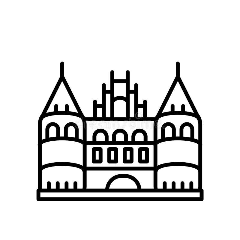 Holsten brama od L༠potoczka ikony wektoru odizolowywającego na białym tle, Holsten brama od L༠potoczka znaka, kreskoweg ilustracji