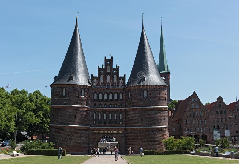 The holsten gate or holstentor in Luebeck old town, germany, schleswig-holstein stock photos