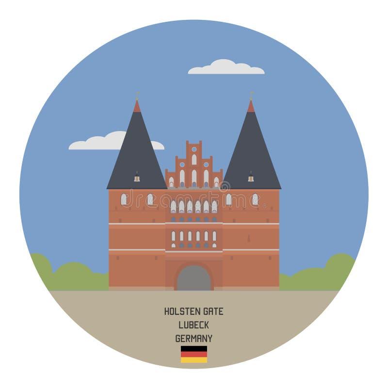 Holsten Gate. Lubeck. Germany. For you design royalty free illustration