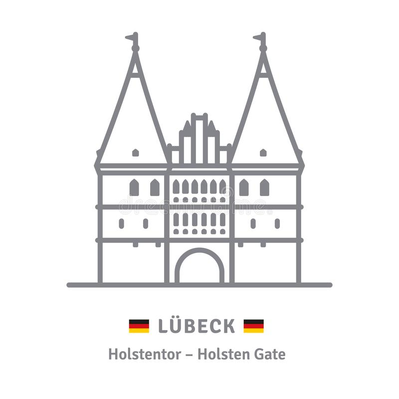 Holsten Gate at Lubeck icon. Line icon of Holsten Gate at Lubeck, Germany with German flags stock illustration