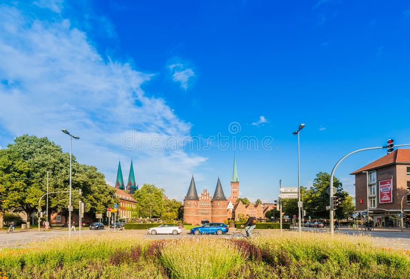 Holsten Gate in Luebeck, Germany royalty free stock photo