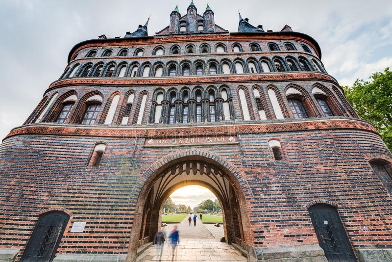 Holsten Gate in Luebeck, Germany. Holsten Gate Holstentor, a city gate marking off the western boundary of the old center of Luebeck in Schleswig-Holstein stock photo