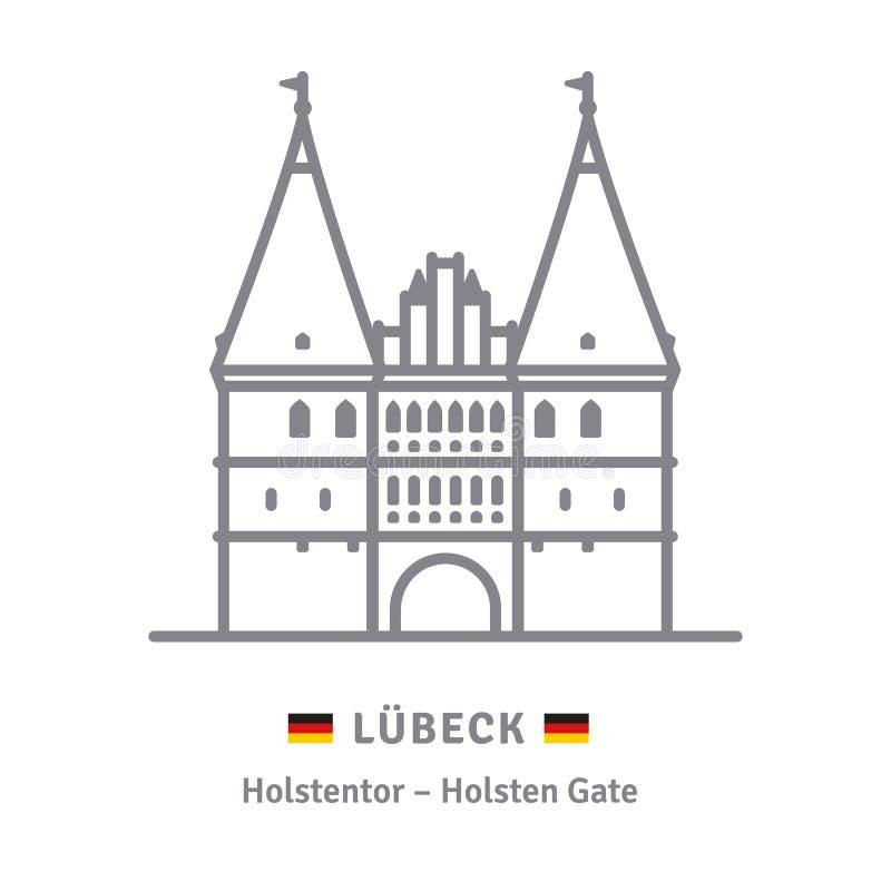 Holsten-Tor an Lübeck-Ikone stock abbildung