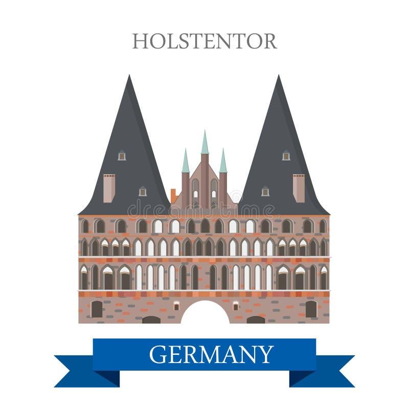 Holstentor Holsten bramy Lubeck Niemcy płaski wektorowy przyciąganie ilustracja wektor