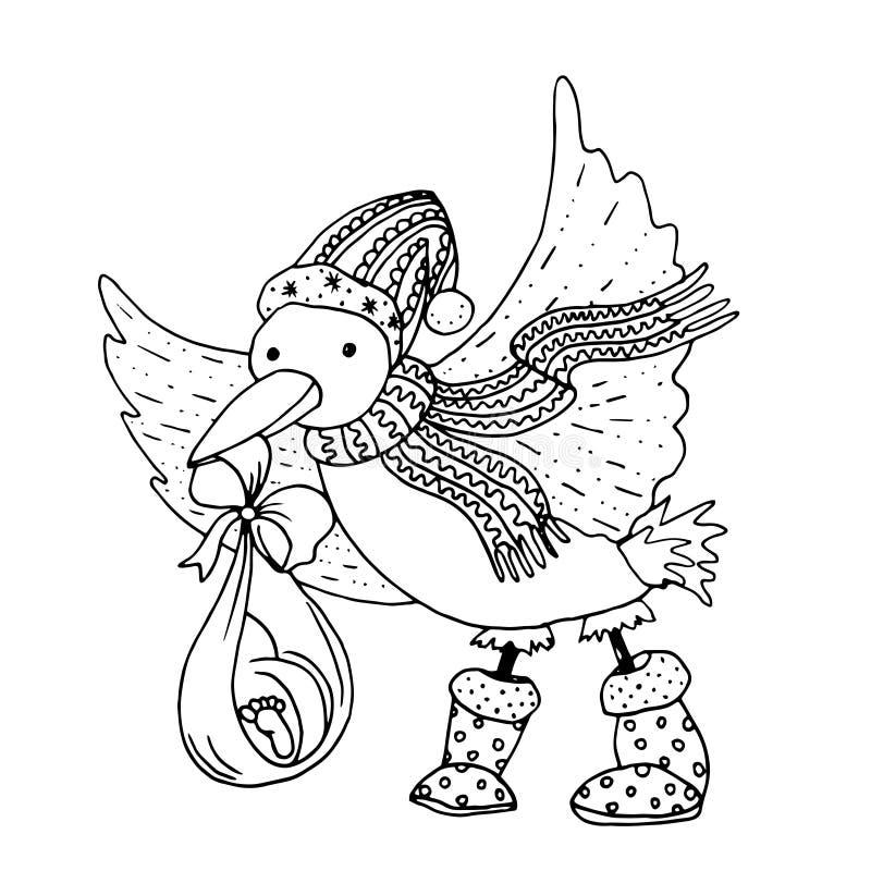 Holte Monoillustration des schwarzen Vektors farbmit mit Storchvogel das Baby für frohe Weihnachten und guten Rutsch ins Neue Jah lizenzfreie abbildung