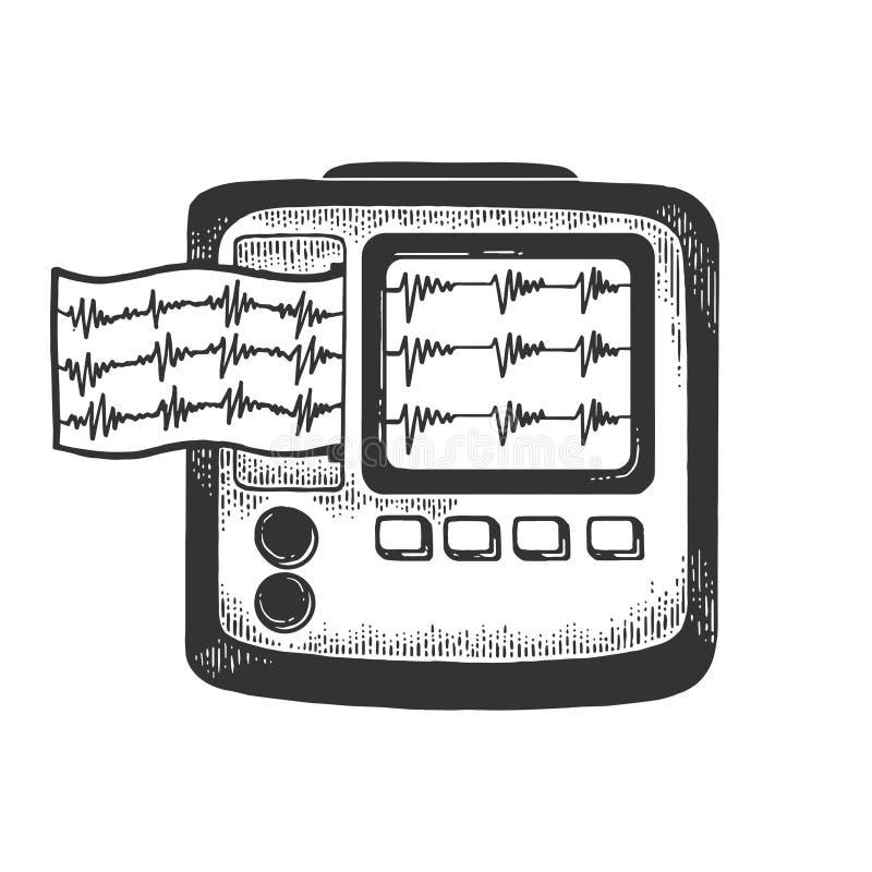 Holter monitor cardiac monitoring sketch vector stock illustration