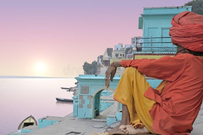 Holy. Man in Varanasi in the morning, India royalty free stock photos
