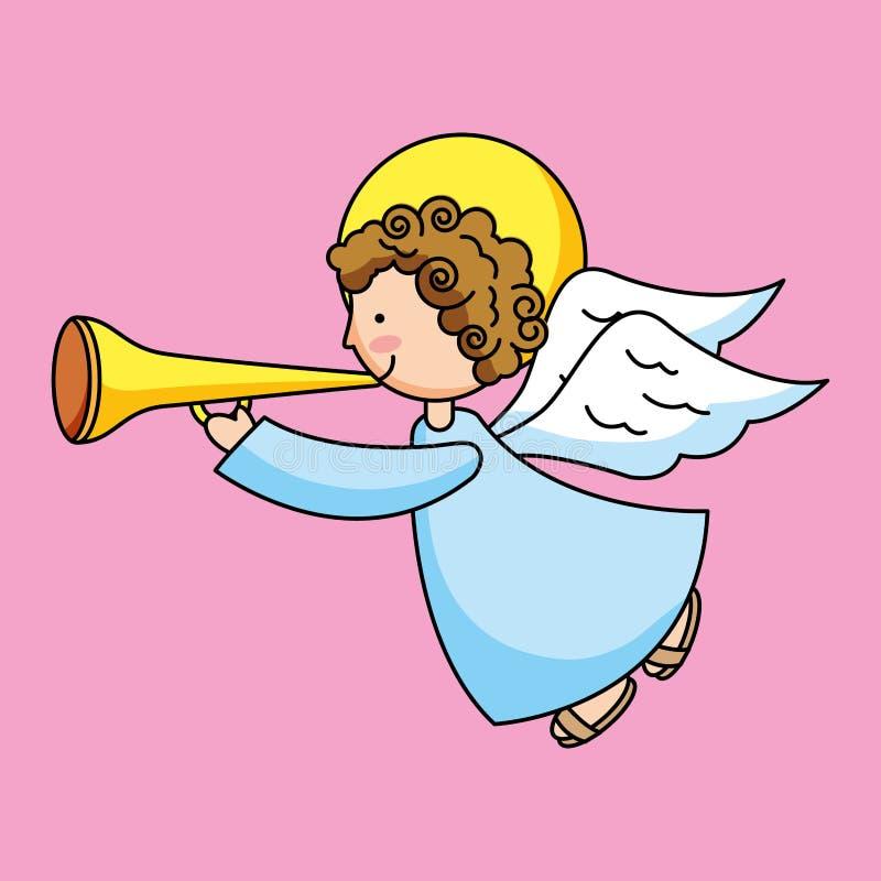 Holy angel with trumpet. Pink background cartoon vector digital illustration image vector illustration