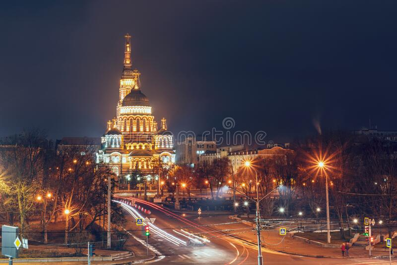 Holy Annunciation Cathedral in the evening illuminated by lights, Kharkiv Ukraine.  royalty free stock photos
