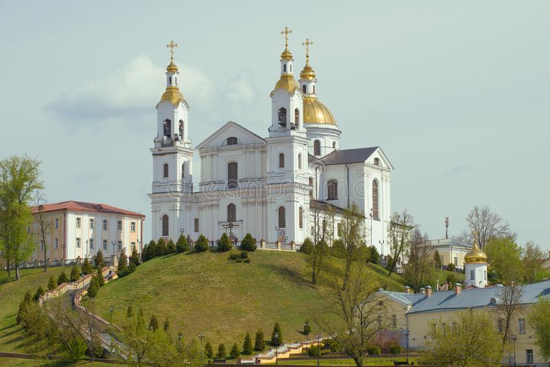 Holy Assumption Cathedral in May afternoon. Vitebsk, Belarus. View of the Holy Assumption Cathedral in May afternoon. Vitebsk, Belarus royalty free stock photography