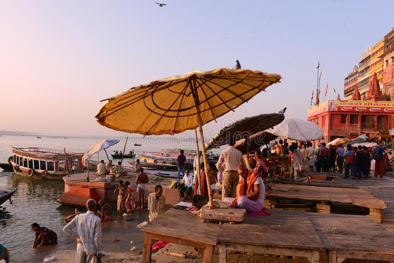 Holy Benaras. Benaras, is considered as the cultural capital of the oldest and holiest cities in India and home to the most famous ghats (steps leading down to royalty free stock photography