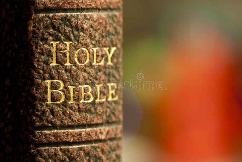 Holy bible. Closeup shot of the holy bible in gold letters on a leather bound book royalty free stock photos