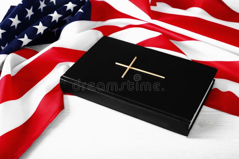 The Holy Bible and the American Flag stock photography