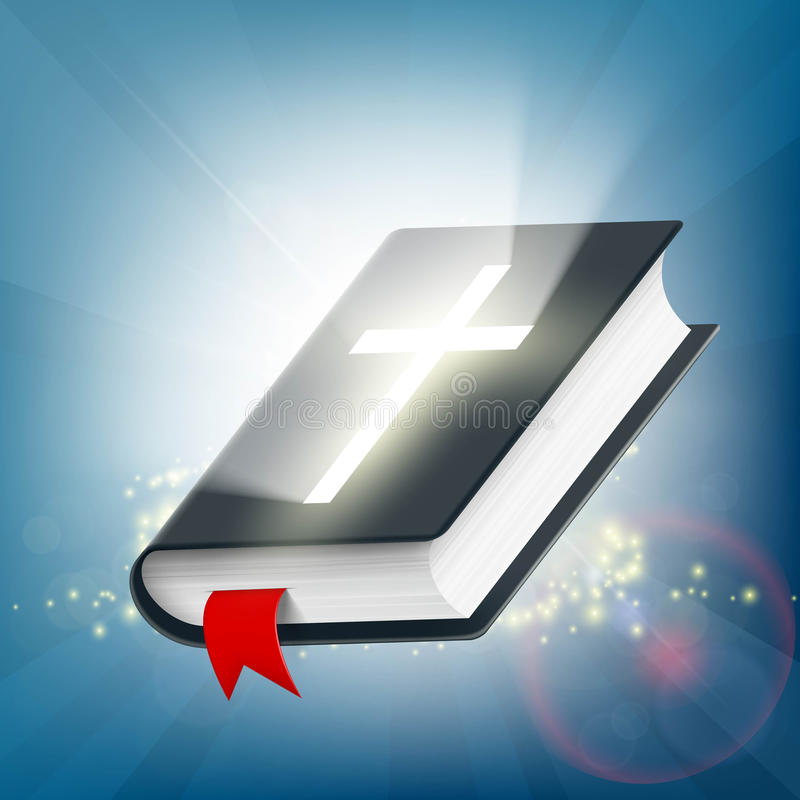 Holy Bible on the background of light rays. Symbol of religion. royalty free illustration