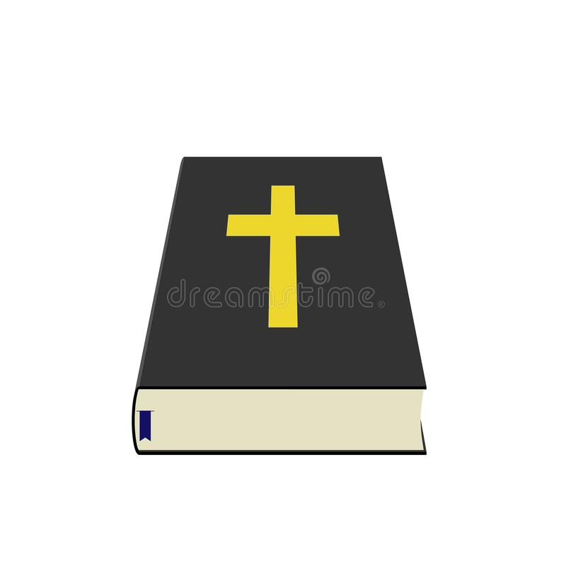 Holy Bible with Blue Bookmark Perspective Art vector illustration