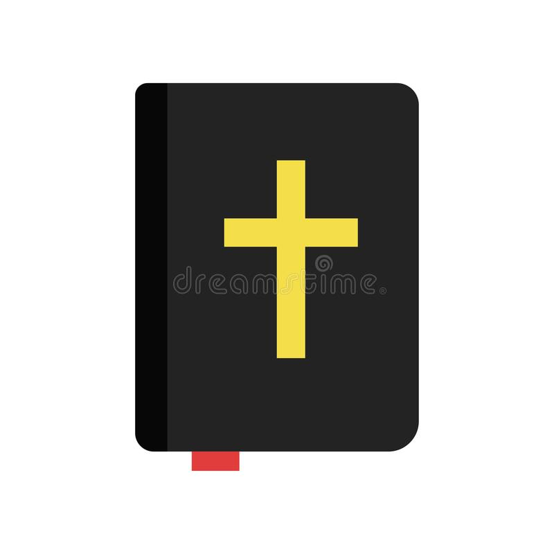 Holy Bible. Christian book of sacred texts. Religious literature. Religion traditions of Orthodox church. Icon in flat royalty free illustration