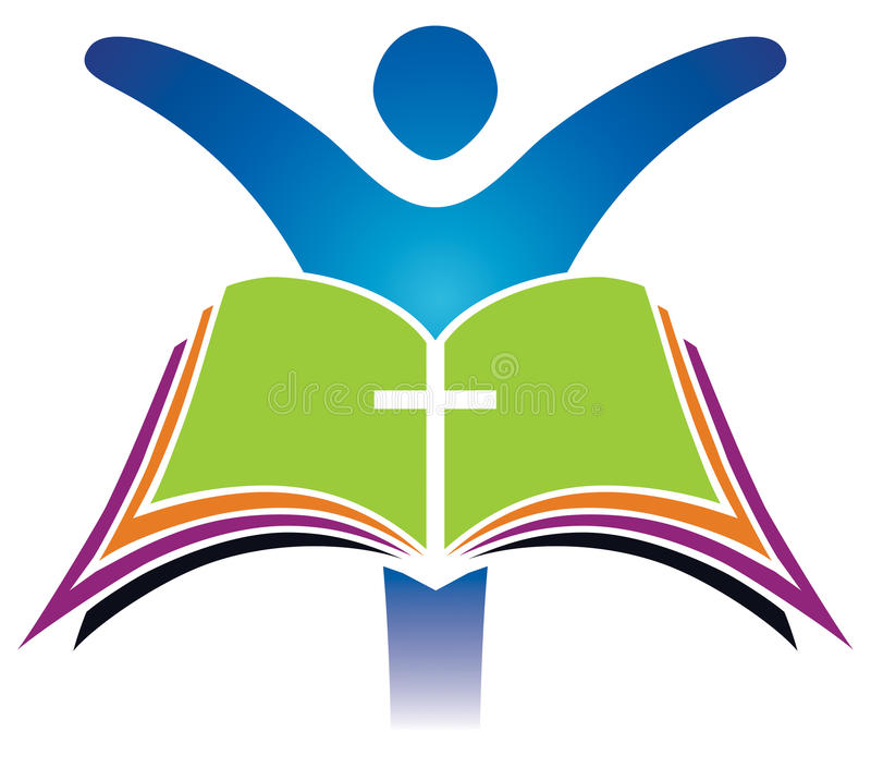 Holy Bible Cross Logo stock illustration