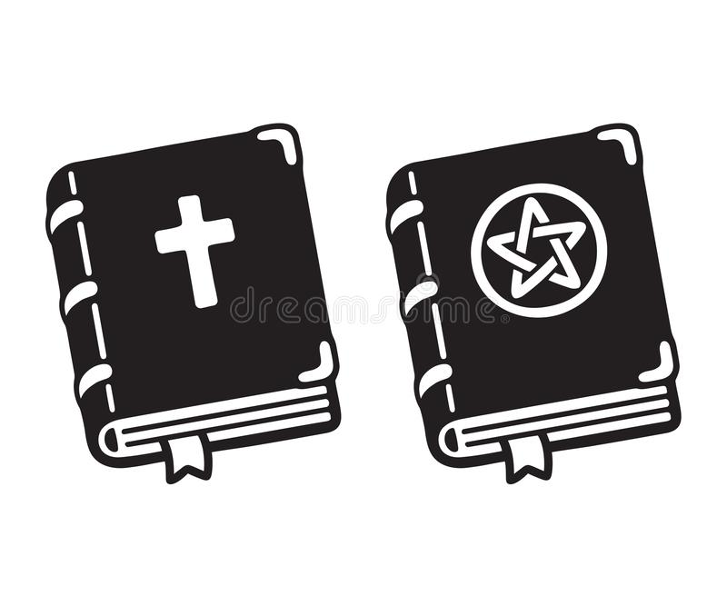 Holy Bible and dark magic book stock illustration