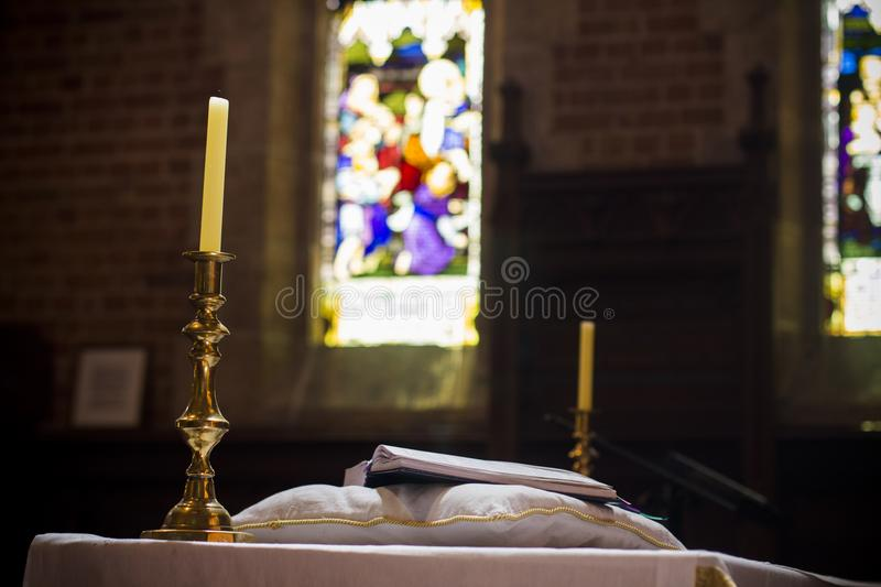 Holy Bible on pedestal pulpit christian church Perth Australia nice. Holy Bible on pedestal pulpit christian church Perth Australia royalty free stock photos
