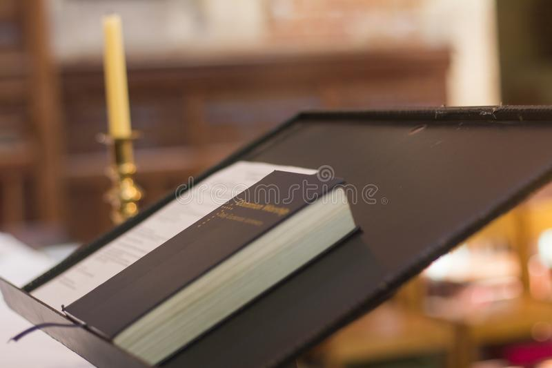 Holy Bible on pedestal pulpit christian church Perth Australia nice. Holy Bible on pedestal pulpit christian church Perth Australia royalty free stock images
