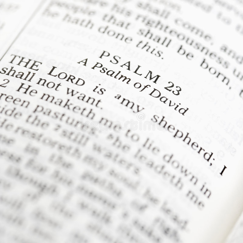 Holy Bible Psalm. stock images