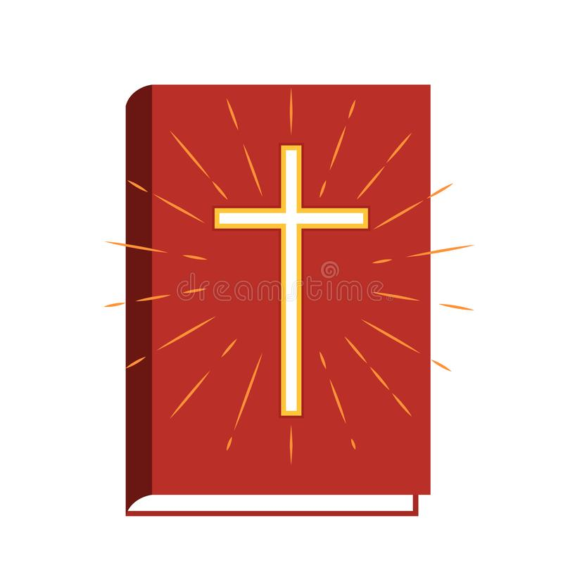 Holy book bible with crucifix and sun looms. flat vector illustration icon isolated royalty free illustration