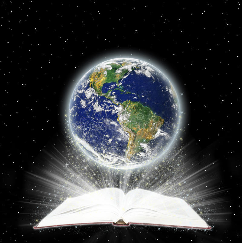 The Holy Book and the Globe stock illustration