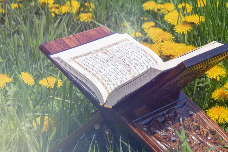 The Holy Quran. Holy book of Muslims around the world. An open page of Quran stock illustration