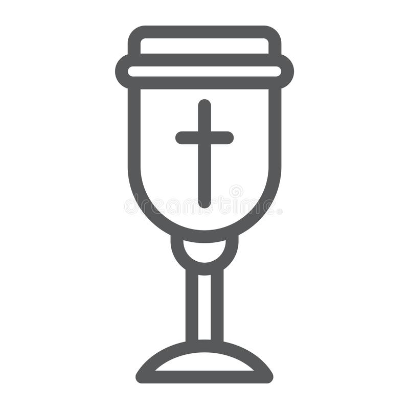 Holy chalice line icon, christian and cup, goblet sign, vector graphics, a linear pattern on a white background. stock illustration