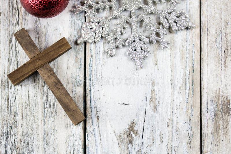 Holy Christian Cross and Christmas Holiday Theme Background. A holy Christian cross and Christmas holiday theme background stock image