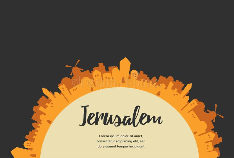 Holy City, Middle East Town, Jerusalem. Vector illustration stock illustration