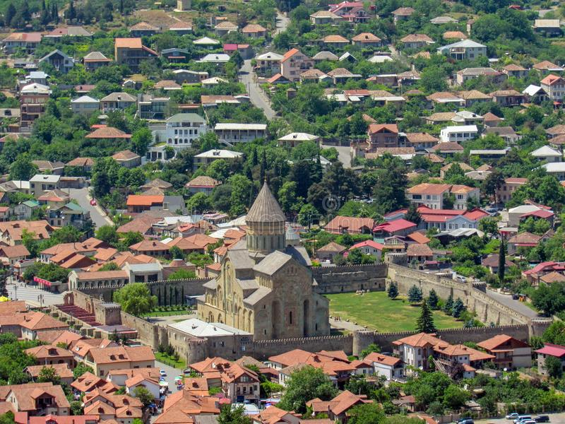 Holy city of Mtskheta view on Svetitskhoveli Cathedral from Jvari Monastery in Mtskheta, Mtskheta-Mtianeti, Georgia. It is part of the UNESCO World Heritage royalty free stock photo
