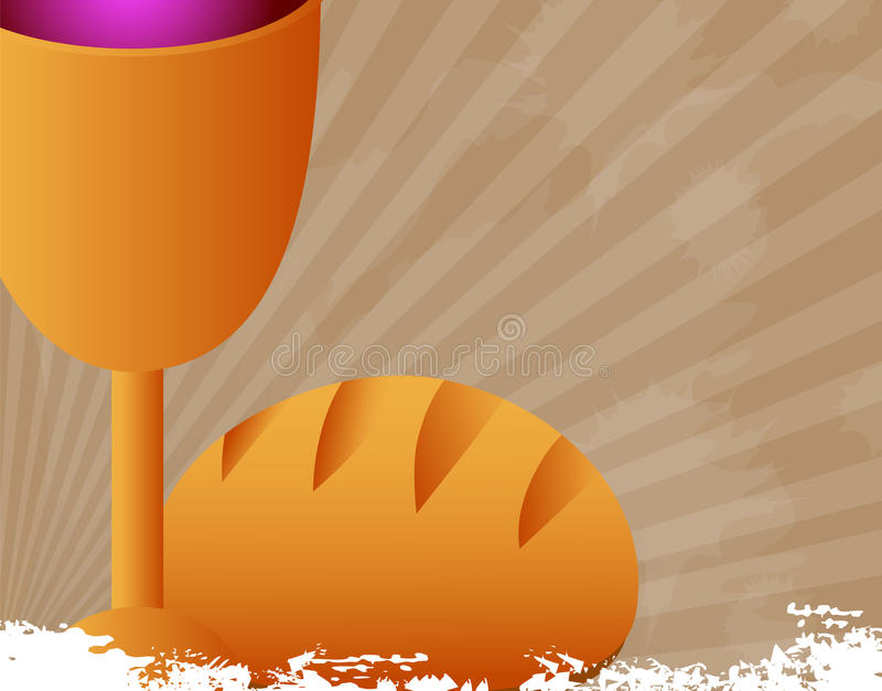 Holy Communion. Bread, wine and chalice-Vector illustration stock illustration