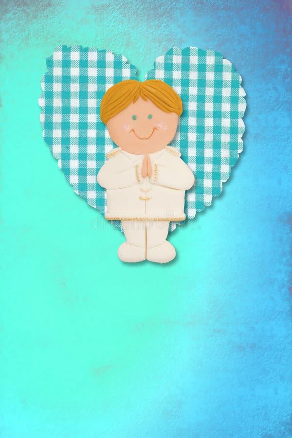 Holy Communion Card, blonde boy royalty free illustration