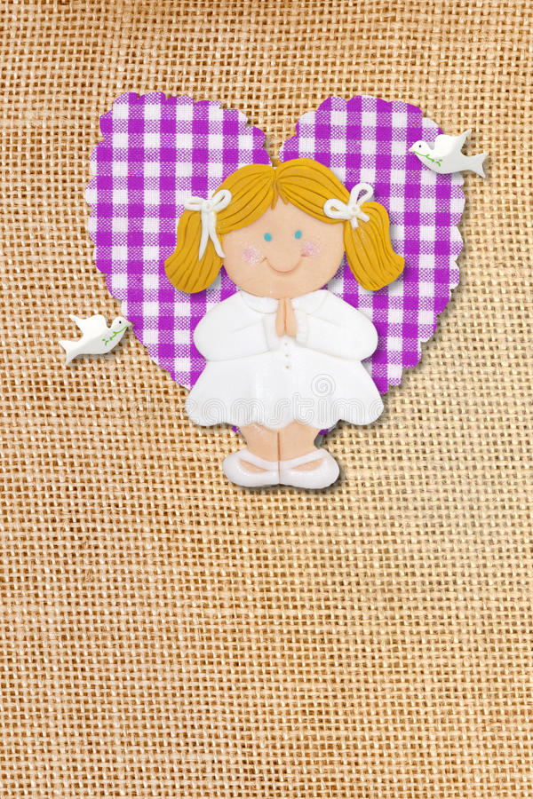 Download Holy Communion Card,rustic,blond Girl Stock Photo - Image: 23040662