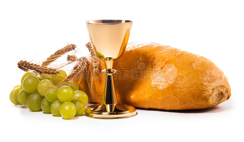 Holy communion. Chalice composition isolated on white royalty free stock image