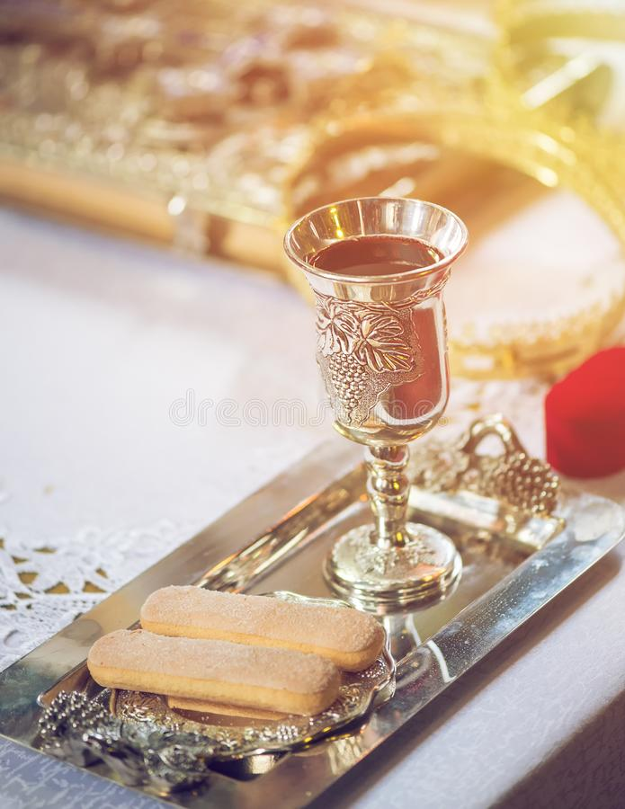 Holy communion on iron table on church stock photography