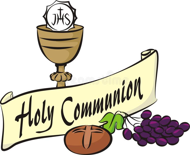 Holy communion. Vector items and background of first holy communion stock illustration