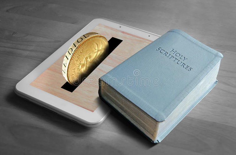 Holy contribution. Conceptual photo of money being donated for religious purposes with online donations royalty free stock images