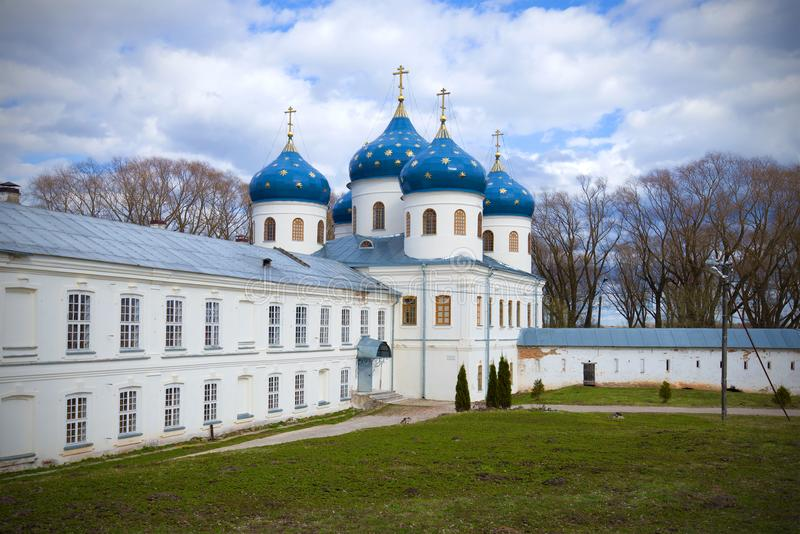 The Holy Cross Cathedral of Monastery on the April day. Veliky Novgorod, Russia royalty free stock images