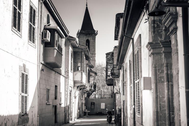 Holy Cross Catholic Church, view through Sht. Salahi Sevket Street. Nicosia, Cyprus stock images