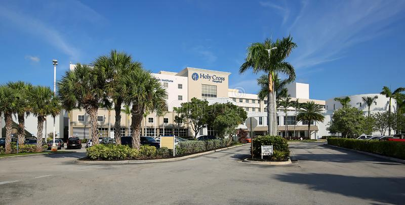 Holy Cross Hospital building in Fort Lauderdale stock images