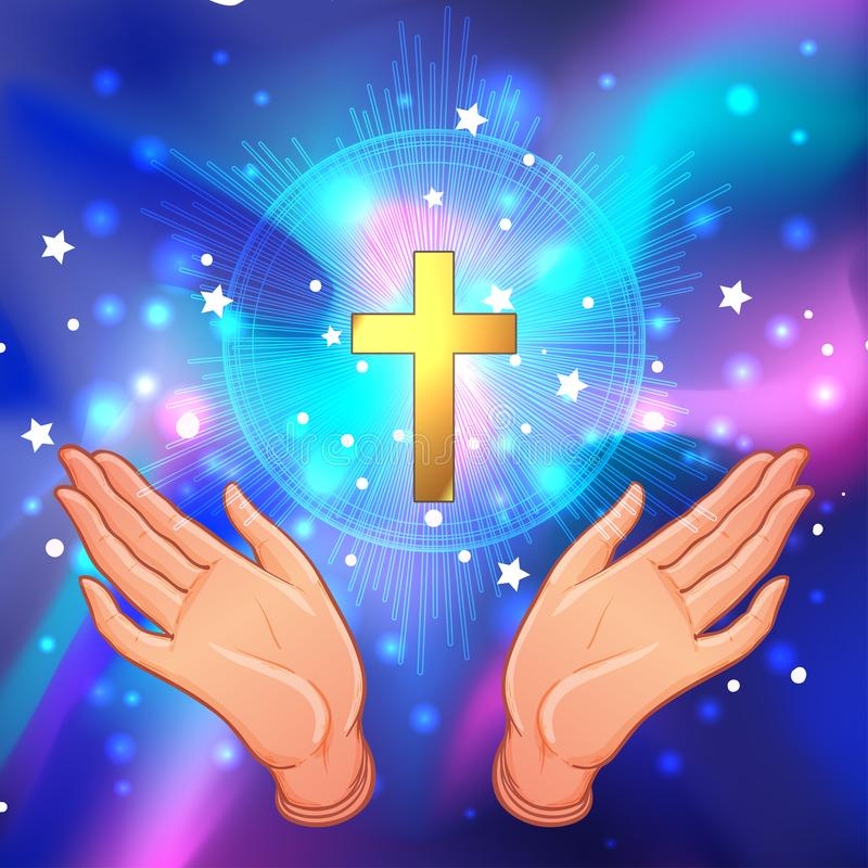 Holy Cross. Open human hands showing a main symbol of Christiani. Ty. Praying or worshiping. Vector illustration of a devotion faithful christian worshiping Son vector illustration