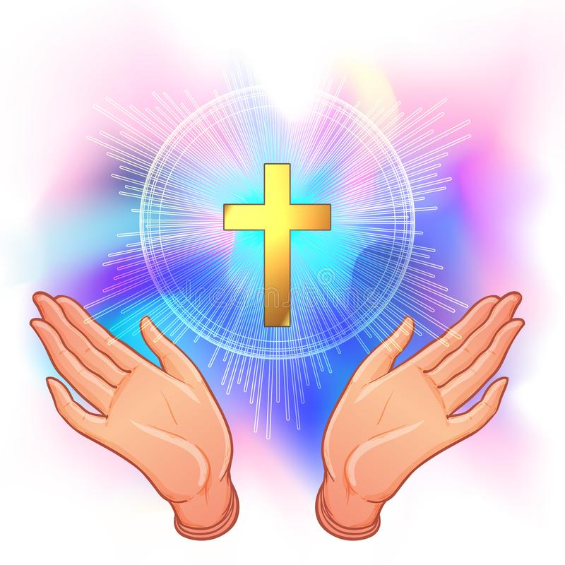 Holy Cross. Open human hands showing a main symbol of Christianity. Praying or worshiping. Vector illustration of a devotion. Faithful christian worshiping Son royalty free illustration