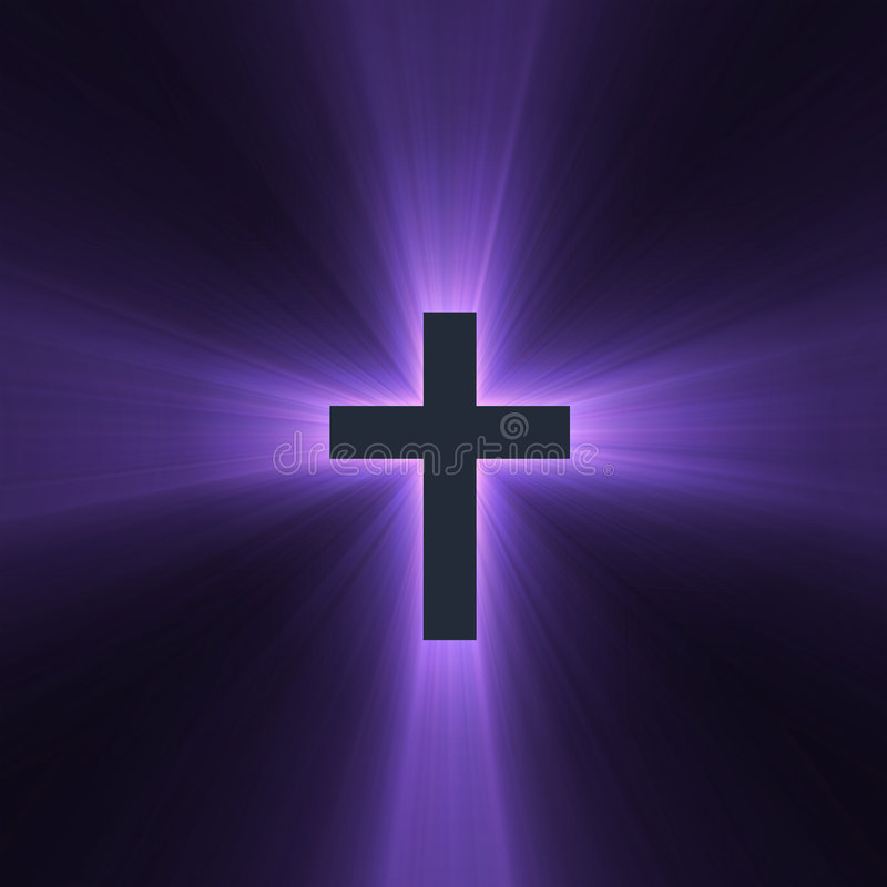 Holy cross purple light flare. Isolated spiritual cross with powerful purple light halo. Extended flares for cropping stock illustration