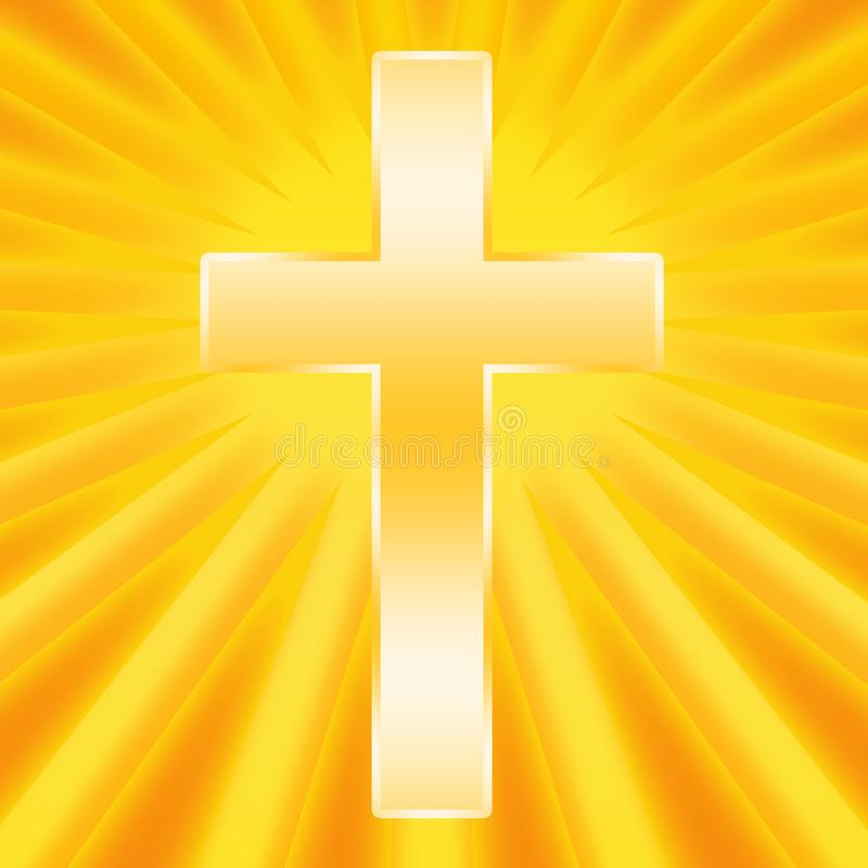 Holy Cross shining. Christian Holy Cross shining brightly on golden background royalty free illustration