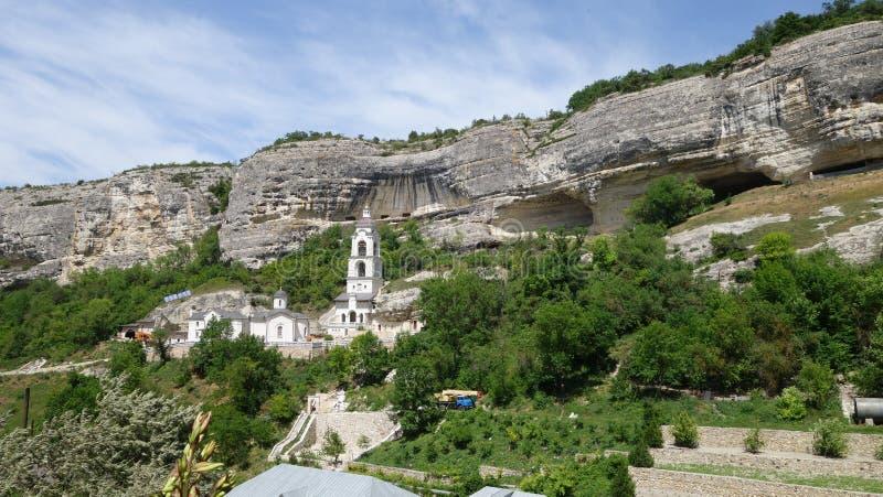 Holy Dormition cave monastery in Bakhchisarai. Crimea stock photography