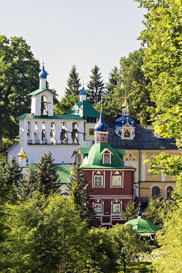 Holy Dormition Pskov-Caves Monastery - one of the largest and mo royalty free stock image