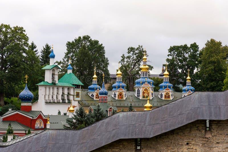 The Holy Dormition Pskovo - Pechersky Pskov Caves monastery. Pechory, Russia royalty free stock photos