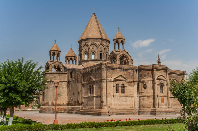 Holy Etchmiadzin church near Yerevan stock images